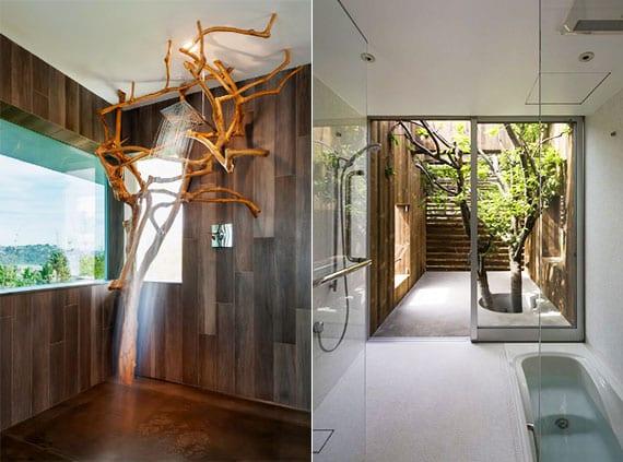 badezimmer ideen für modernes bad mit einem baum als dekoration im raum und lebendige aussicht von der badewanne