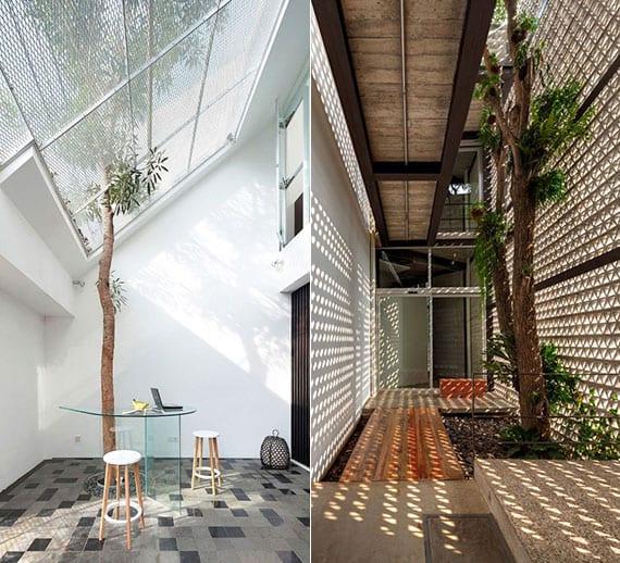 coole gestaltungsideen für eingangsbereich mit wachsendem baum im innenraum und natürliche beleuchtung durch gitterartige fassade aus betonsteinen und verglaste dachneigung