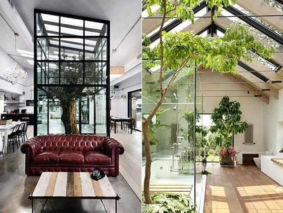 bäume als teil vom modernen interior design in szene setzen durch oberlichter und glaswände