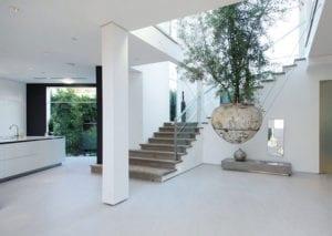 modernes-interior-design-mit-baum-in-hängeblumentopf-als-mittelpunkt-im-offenen-wohnzimmer-mit-küche-und-offener-innentreppe