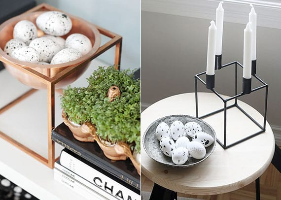 moderne dekoideen zu ostern mit weißen ostereiern in metallschale, metallkerzenhalter mit weißen kerzen und microgreens in eierkarton