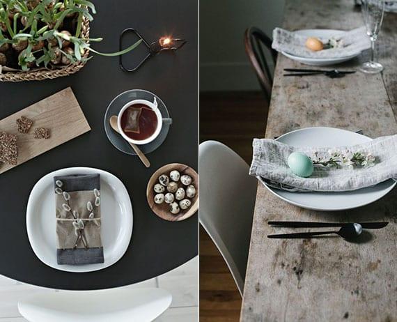 skandinavische tischdeko zu osterfest und stilvolle platzteller dekoration mit grauen stoffservietten, frühlingszweigchen und osterei in pastellfarbe