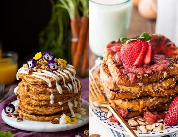 brunch rezepte für leckeren frühstück mit Pfannkuchen aus Karotten und Arme Ritter mit Mandelmilch und hausgemachtem Erdbeersirup
