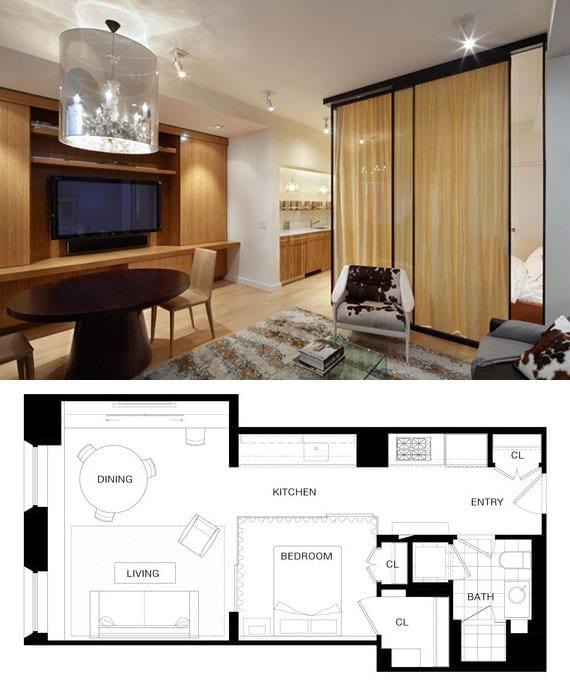 praktische raumteilung kleiner wohnung mit wohnessimmer, kochnische im korridir und schlafbereich hinter glasschiebetüren und gardinen