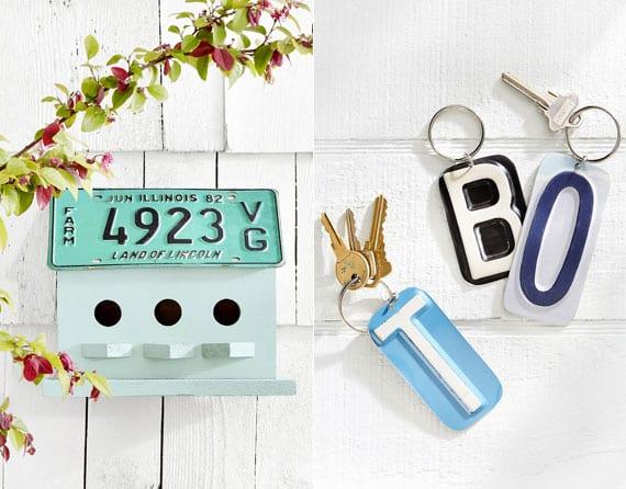 kreatives basteln vom Vogelhaus aus holz mit dach aus nummerschild und coole idee für DIY Schlüsselanhänger aus Buchstaben und Ziffern alter Nummerschild