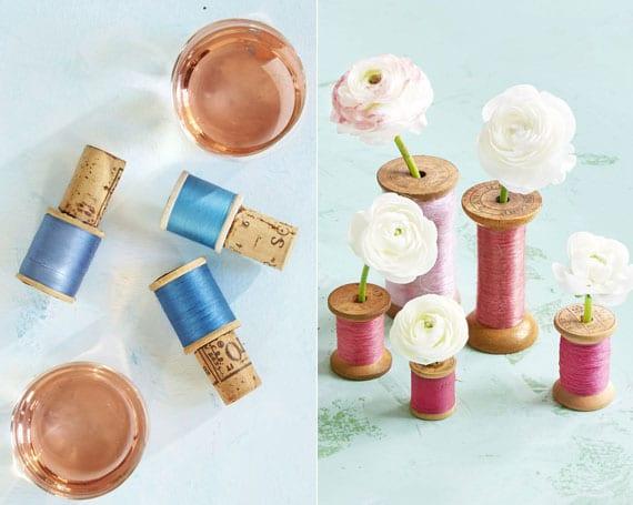 kreative dekoideen mit frischen blumen und fadenspulen und eine bastelidee für DIY Weinflasche-stopper aus korken und fadenspule