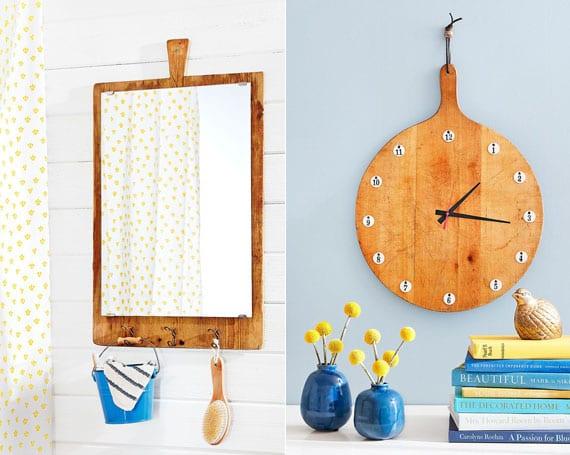 kreative wandgestaltung mit DIY Wandspigel und DIY Wanduhr aus holzschneidebrett