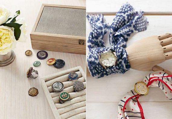 coole bastelideen für originelle DIY Schmuckstücke wie Vintage-Ringe aus Knöpfen und Handuhr mit Halstuch-Armband
