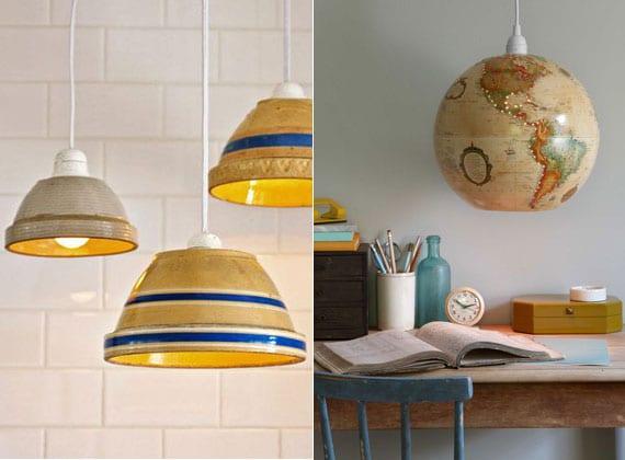 attraktive hängelampe selber machen aus keramikschalen oder Pappe-Globus