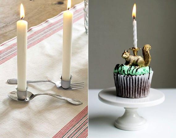 rustikale tischdeko mit DIY Kerzenhalter aus Essbesteck und coole bastelidee für DIY Tortenkerzen aus Plastiktieren