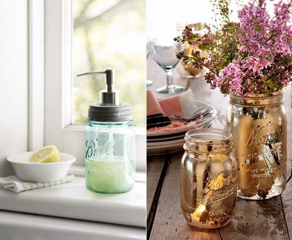 coole recycling-ideen mit einmachglas für DIY Vintage-Seifenspender und DIY-blumenvase im Patina-Look