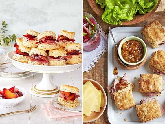 brunch rezepte für Mini-Sandwiches mit Schinken und marinierten Pflaumen oder Aprikose-Senf