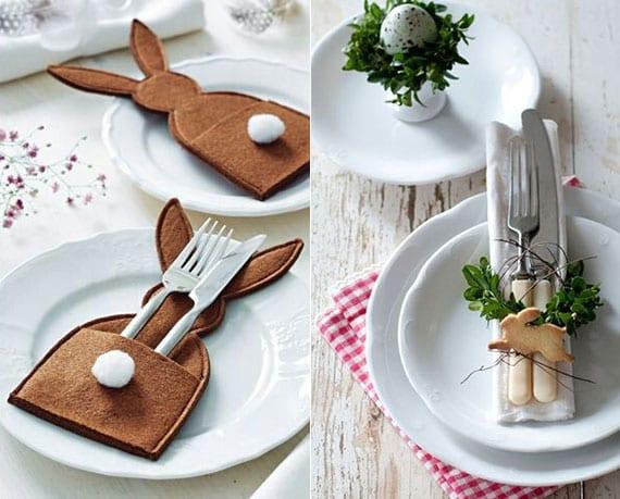 originelle osterdeko ideen mit diy osterhase-bestecktaschen und coole platztellerdeko mit osterhase-plätchen und mini-kranz aus buchsbaum