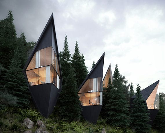 futuristisch Tree-Häuser auf zwei Etagen mit Glasfassede und großartigem Design