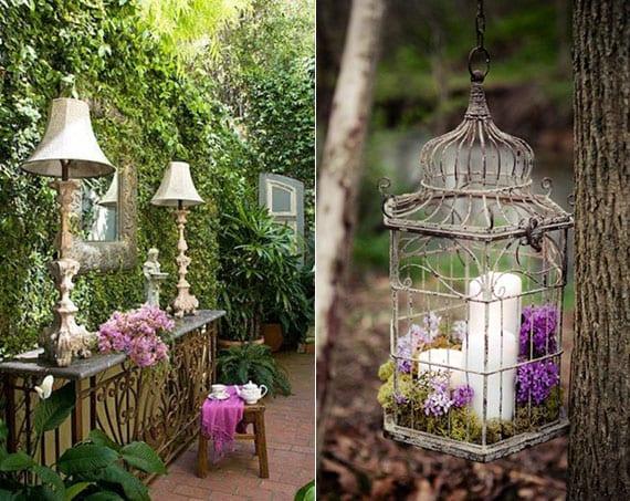 attraktive und romantische gartengestaltung mit sideboard aus metall, tischlampen, wanddeko mit wandspiegel und kletterpflanzen, diy hängedeko mit kerzen und blumen im alten vogelkäfig
