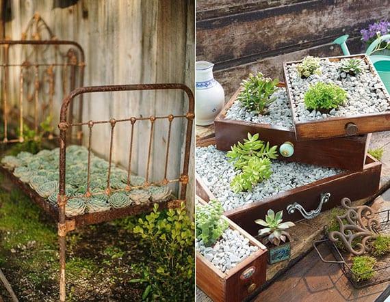 coole gartendeko im vintage stil mit Fettpflanzen in holzschubladen oder anderen Möbelstücken
