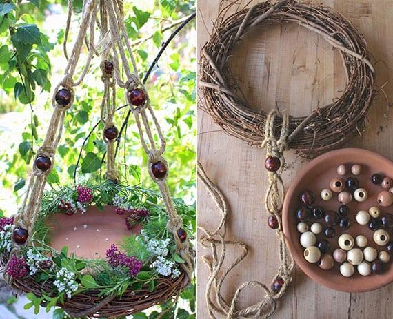 bastelidee für hängetisch im garten aus Weinstockkranz, Blumentopfuntersetzer, makramee mit holzperlen und blumenkranz