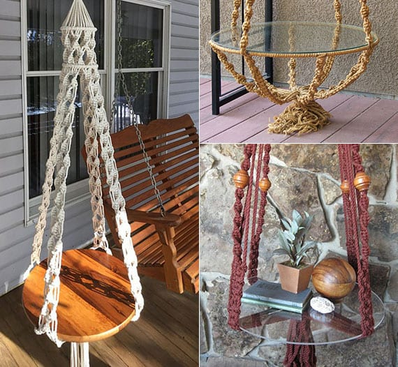 terassengestaltung mit kleinem hängendem beistelltisch aus makramee und holz oder glas als coole diy deko und hilfreiche ablage neben einem schaukel oder kleiner sitzecke