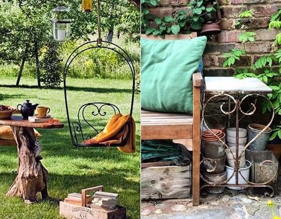 tolle ideen für farbige gestaltung und vintage dekoration im garten mit sitzbank aus holz, schaukelstuhl und beistelltisch aus metall und bunten wohntextilien