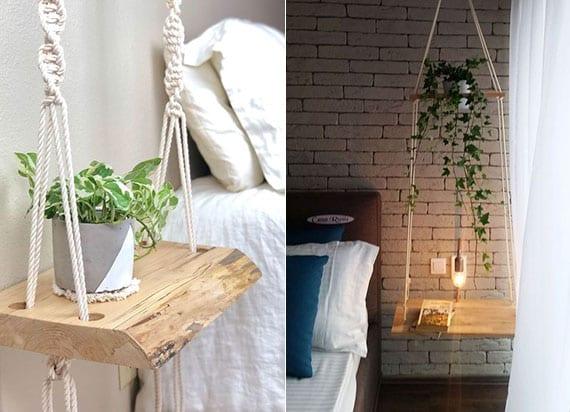attraktive dekoidee für schlafzimmer mit selbstgemachtem hängetisch aus holzplatte und makramee