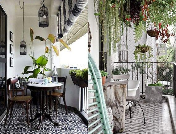 coole ideen für bodengestaltung im außenbereich mit gemusterten bodenflisen_balkon ideen mit hängegarten, rundem tisch aus holzstamm,schwarze vogelkäfig-hängelampen