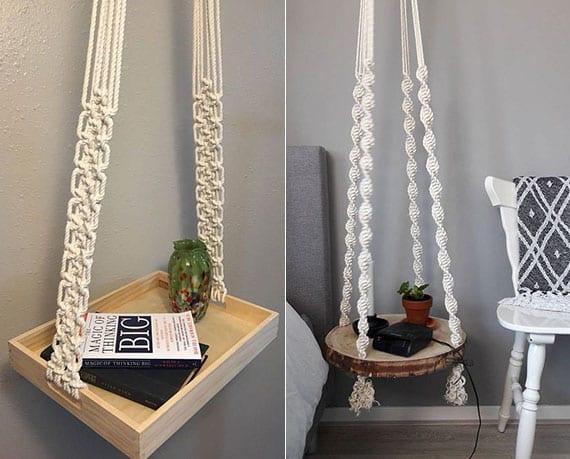 ausgefallene hängetisch selber machen mit baumscheibe oder holztablett und makrame als origineller nachttisch und kleiner beistelltisch
