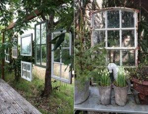 kreative-deko-tipps-und-ideen-für-attraktive-Vintage-gartengestaltung-mit-alten-Fenstern