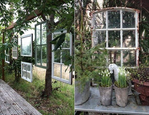 alte holzfenster mit sprossen als originelle gartendeko