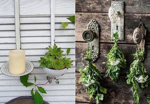 coole ideen für DIY gartendeko und attraktive gartengestaltung mit metallkellen und schössern als vintage wanddeko