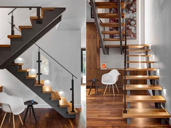 stilvolle Raumgestaltung mit offener Innentreppe aus Stahl und Holz über Garderobe aus holz , kleiner Wandleuchten weiß für Beleuchtung der Stuffen und Akzentwand mit einbau LED-Streifen und Wandgemälde
