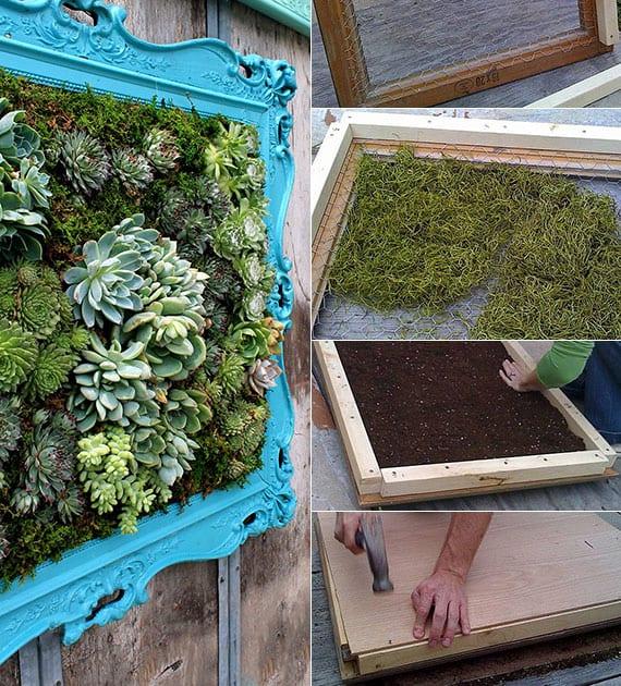 coole wanddeko ideen mit selbstgemachtem wandgemälde aus grünpflanzen und moos