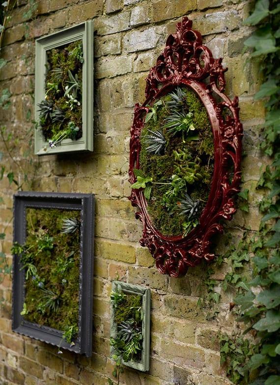 coole gartendeko idee mit diy wandbildern aus grünpflanzen in fargigen retro-bilderrahmen