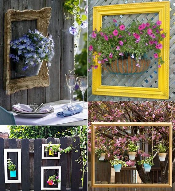 coole dekoideen für garten mit topfblumen und bunt gestrichenen bilderrahmen an der wand