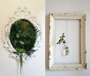 grüne-pflanzen-und-vintage-bilderrahmen-aus-holz_coole-kombination-für-originelle-und-belebende-DIY-Wanddeko