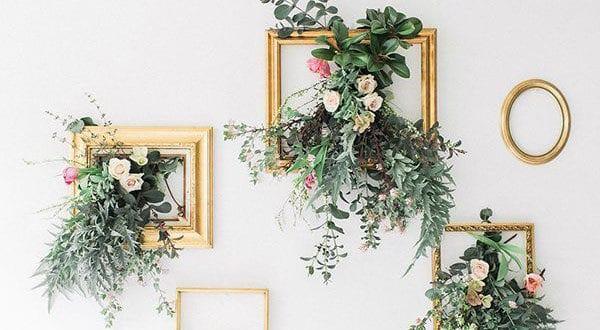 DIY Wanddeko Ideen mit Pflanzen und Bilderrahmen