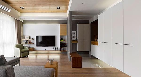 Der offene Eingangsbereich und seine funktionale Abtrennung von Wohnbereich