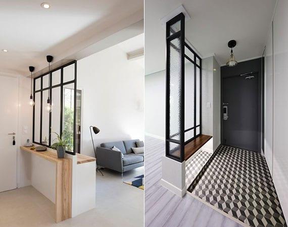 Licht im Eingang bringen mit einer trennwand aus glas_coole ideen für kleine wohnungen