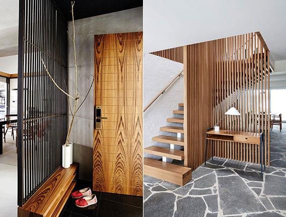 coole ideen für elegante und luftige raumtrennung mit einfacher raumteilerwand aus holz und metall