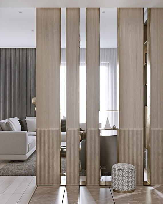 moderne und luftige raumtrennung mit dekorativen paneelen aus holz