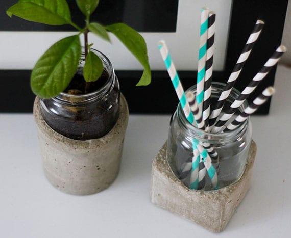 kreatives basteln mit beton und glas_attraktive diy deko mit modernen vasen und behältern aus altglas