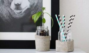 kreatives basteln mit beton und glas_diy moderne zimmerdekoration