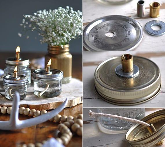 coole tischdeko idee mit selbstgemachten öllampen und diy mason jar vase in gold auf holzscheibe, kette mit holzperlen und geweih