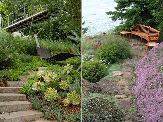 coole gartenideen für gemütliche sitzmöglichkeiten mit einer schaukel oder gartenbank in einem hanggarten