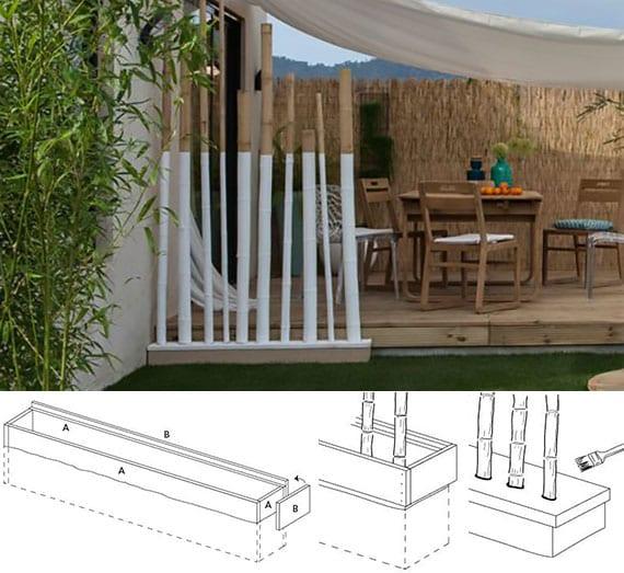 gartendeko mit bambusrohre im betonpodest als moderne gestaltungsidee und attraktives trennobjekt für den außenbereich