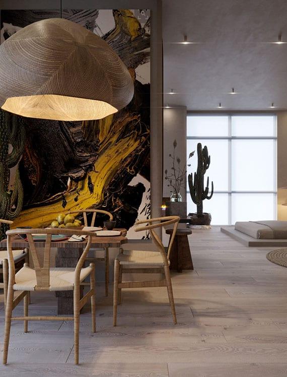 moderne einrichtungsideen für kleine einzimmer-wohnungen mit naturmaterialien, frischen akzenten und attraktive dekoration