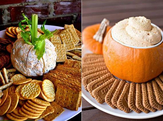 buffet ideen und dip-rezepte für eine kürbisparty zu halloween