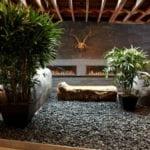 moderne raumgestaltung mit wandeinbaukaminen und steingarten mit topfpflanzen in schwarzem kies