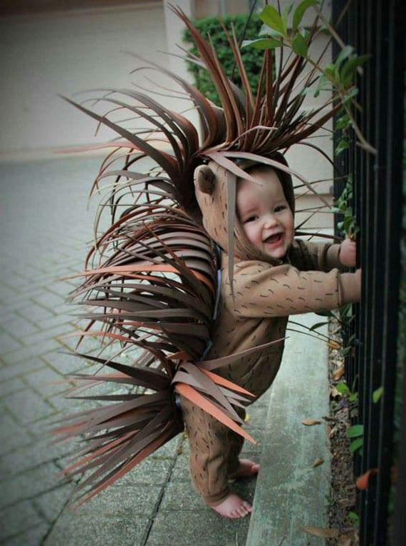 halloween kostüm stachelschwein für babys und kleinkinder selber machen