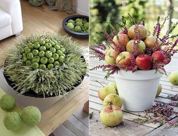 attraktive und verblüffende tischdeko ideen mit äpfeln und topfblumen