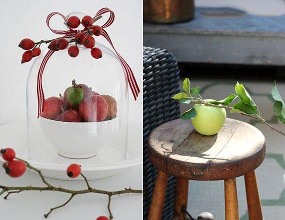 moderne und attraktive deko ideen für herbst und winter_rote äpfel mit Hagebutten in weißem schüssel arrangiren oder holzbeistelltisch mit apfelzweig dekorieren